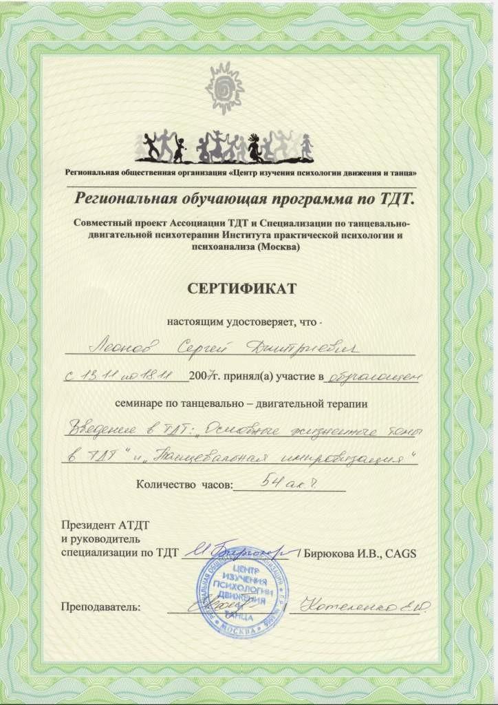 Сертификат Вводный курс по танцевально-двигательной психотерапии Леонов Сергей