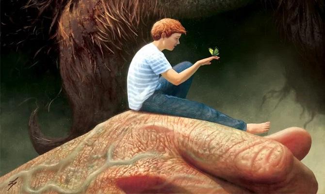 мальчик на руке у великана. доброе отношение к самому себе